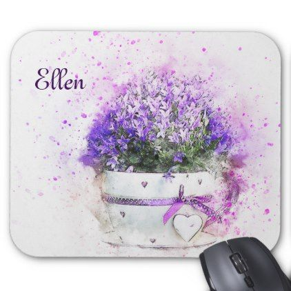 Feminine lavender and purple flowers bouquet mouse pad - pink gifts style ideas cyo unique
