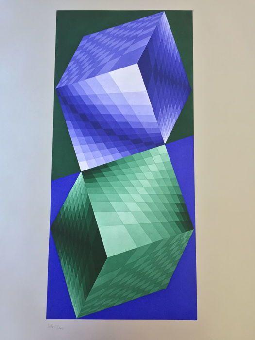 """Victor Vasarely - Réponse à Victor Vasarely  Victor Vasarely (1908-1997) - samenstellingOriginele heliogravure in kleur op papier.Van de portefeuille """"Antwoord aan Victor Vasarely"""" (Antworten een Victor Vasarely) publiceerde in 1974.Genummerde 304/340.Afmeting: 60 x 50 cm.Uitgave Lahumière studio Bruckmann.Nooit ingelijst onderhouden in doos en weg van zonlicht.Express verzending met specifieke kunst verzekering en professionele verpakking.  EUR 5.00  Meer informatie"""