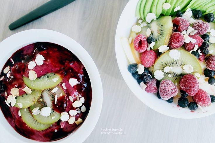 100 KITCHEN STORIES: Vegan Raw Berry Ice Cream and Colorful Fruitsalad @psuonvieri