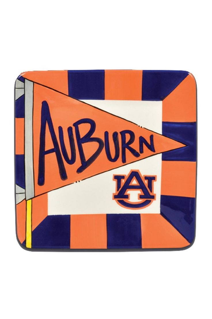 orange and blue auburn plate measures x auburn flag plate by walkers home amp gifts home decor dining dinnerware alabama: home decor plate x