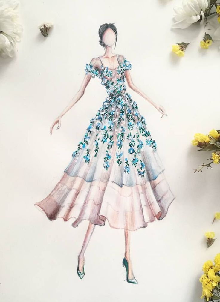 Sketches of fashion designers dresses