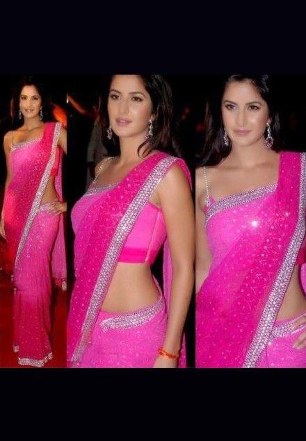 #Katrina Kaif Style #Pink #Bollywood #Saree