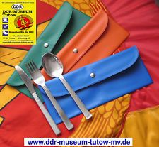 Bestecktasche mit Original DDR-Aluminium - Besteck, DDR-MUSEUM-TUTOW