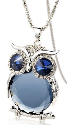 Cute Night Owl Pendant Sweater Chain Necklace ==