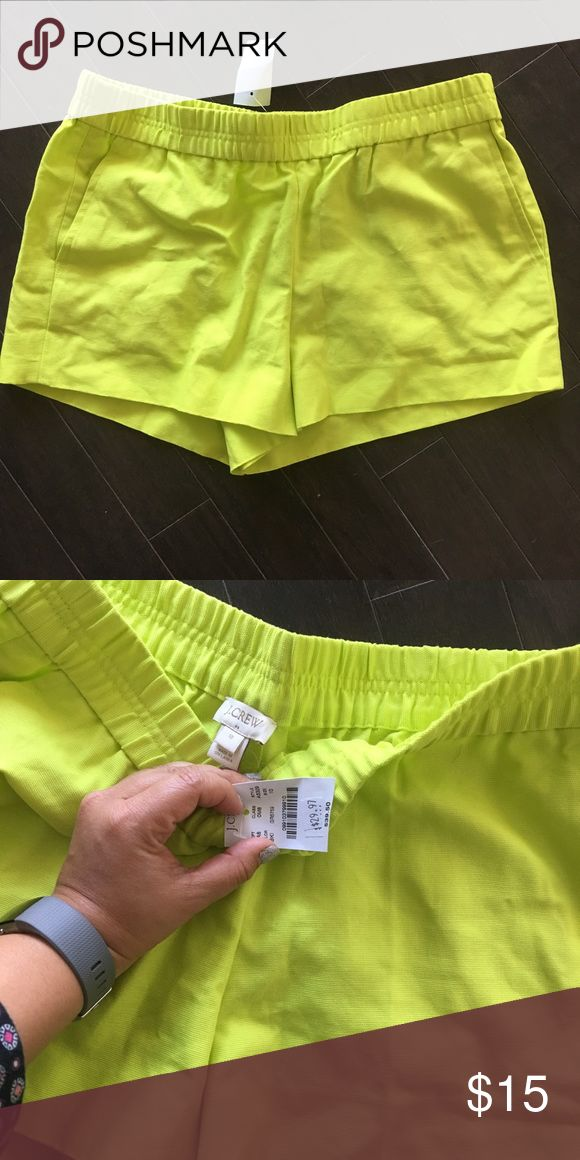 J crew neon yellow shorts- great for vacations J. crew neon yellow shorts, size 10. Elastic waistband and front pockets. Brand new with tags. J. Crew Shorts
