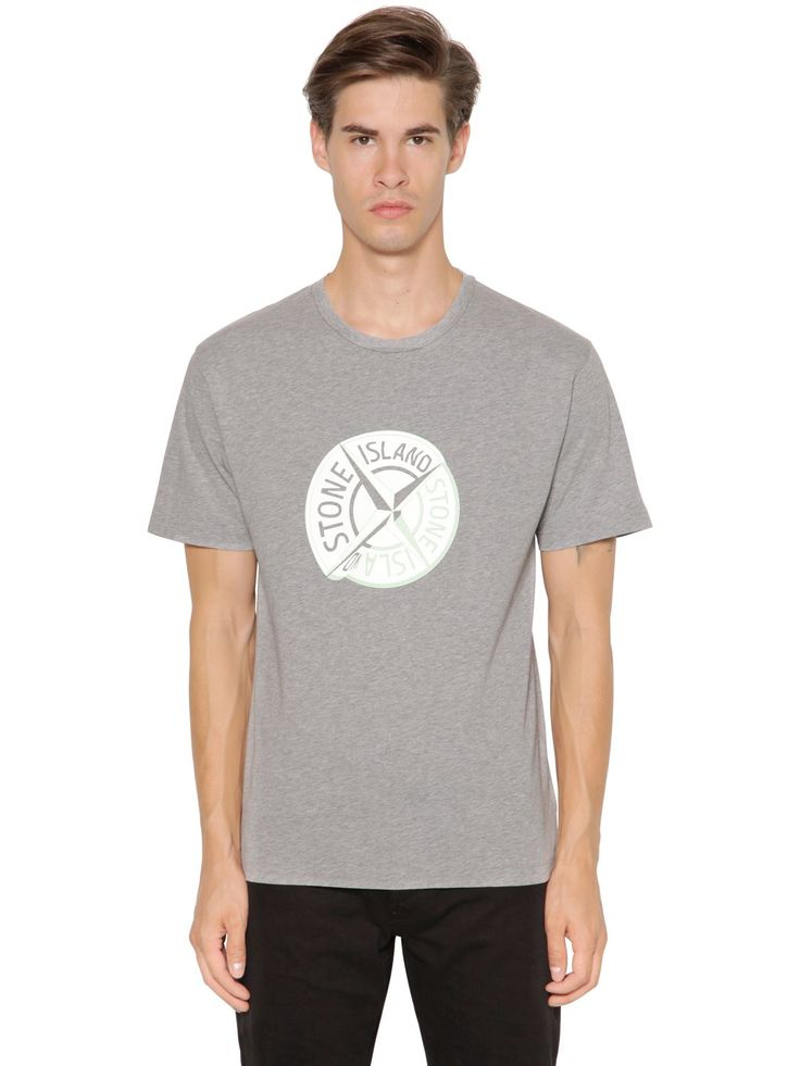 STONE ISLAND BIG LOGO COTTON JERSEY T-SHIRT. #stoneisland #cloth #