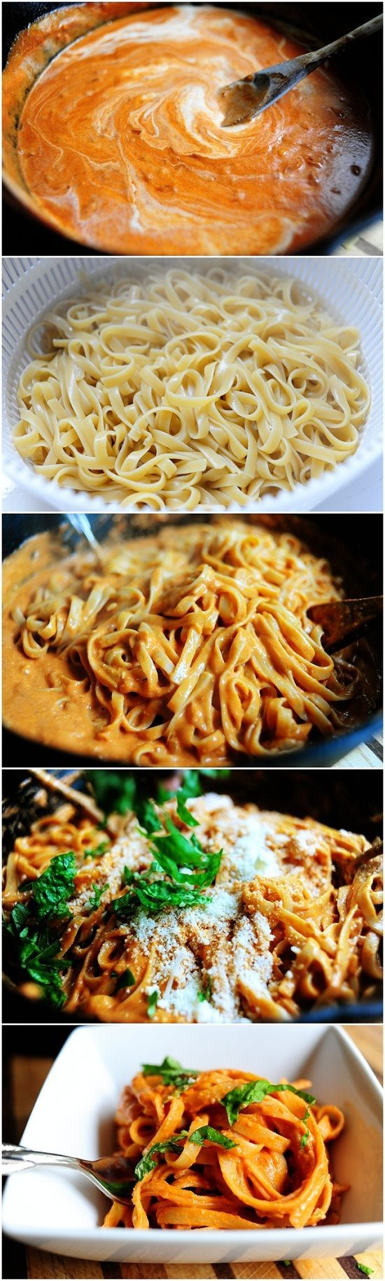 Pasta with Tomato Cream Sauce.  Since I need to watch my cholesterol I will use fat free half/half.  Whole wheat pasta.