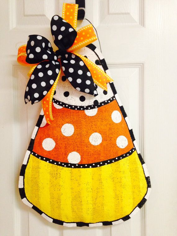 Candy Corn Stuffed Burlap Door Hanger by BeccasFrontDoorDecor, $40.00