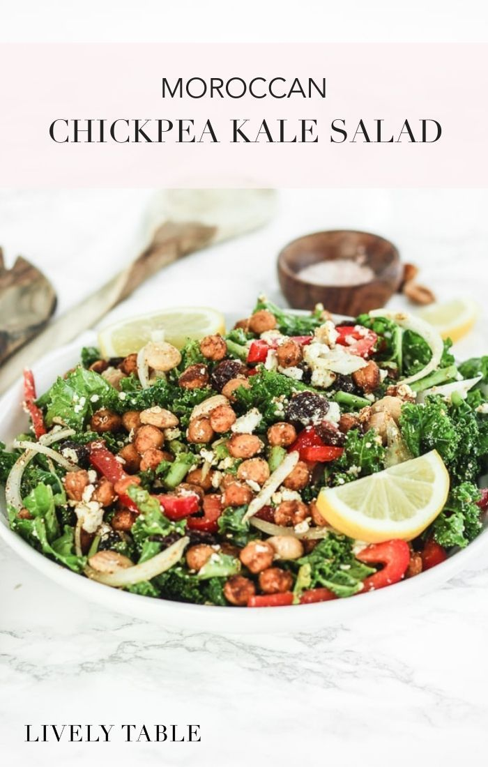 This flavorful Moroccan chickpea kale salad, with seasoned roasted chickpeas, be…   – Best Salad Recipes