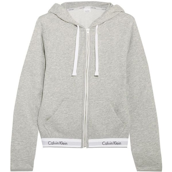 Calvin Klein Underwear Modern cotton-blend jersey hooded top (2 085 UAH) ❤ liked on Polyvore featuring tops, hoodies, grey, grey hoodies, gray hoodies, zip hoodies, logo hoodies and zip top