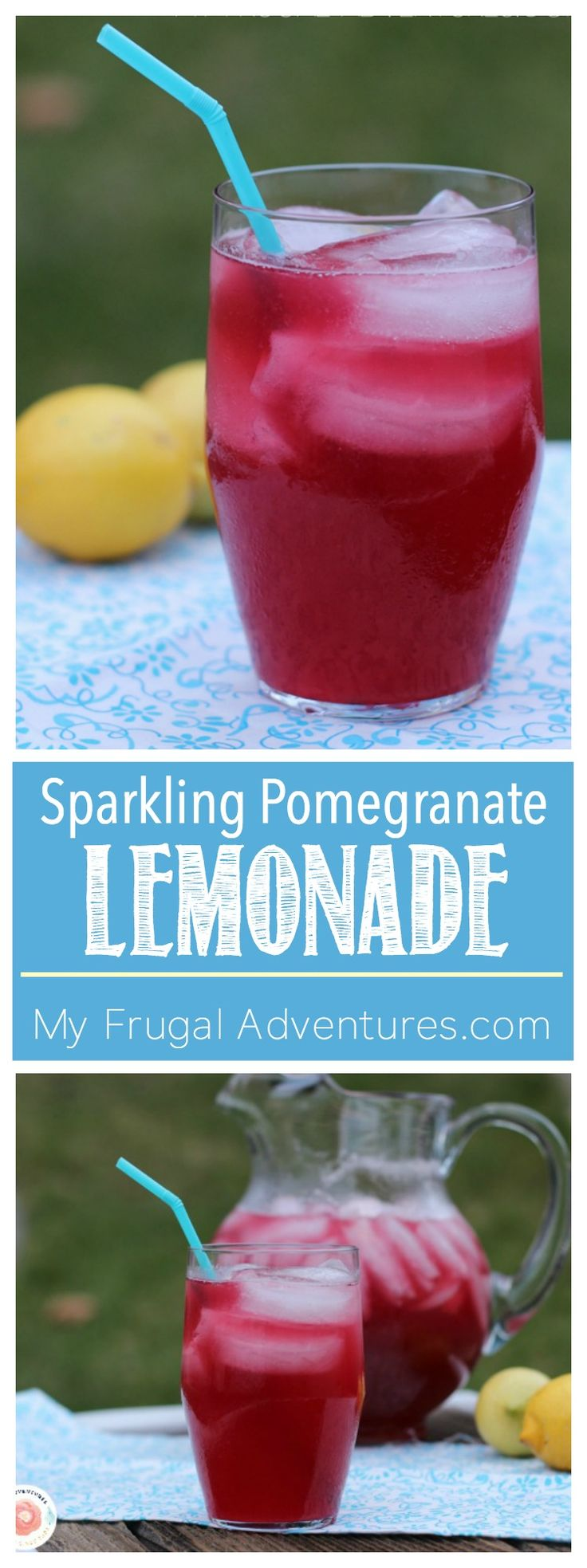 Super simple homemade Sparkling Pomegranate Lemonade recipe.  Absolutely perfect for summer entertaining!