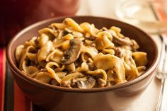 One-Pot Beef Stroganoff with Egg Noodles: This easy weeknight version uses one big pot to brown the ground beef with onions, then simmer it all with paprika, wine, beef broth, and browned mushrooms. Dried egg noodles are added right to the pot to cook until tender, and sour cream is stirred in at the end to finish the creamy sauce.
