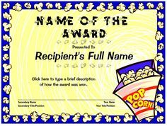 Free editable certificate with popcorn theme http://www.dyetub.com/certificates/scouting/cub/cub-popcorn.html
