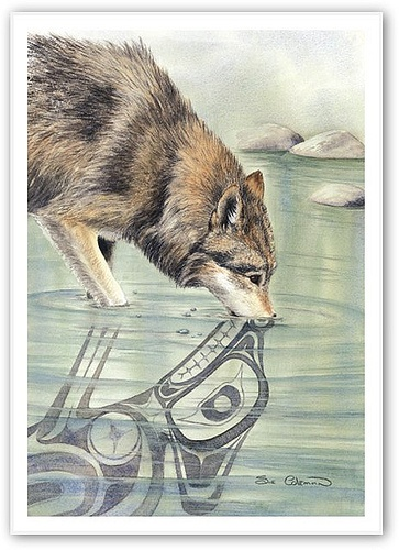 """""""Wolf"""" by artist Sue Coleman from British Columbia. Really neat idea!"""