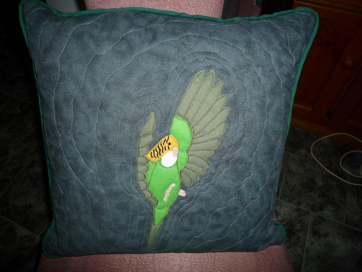 Flying budgie applique cushion - BaRb