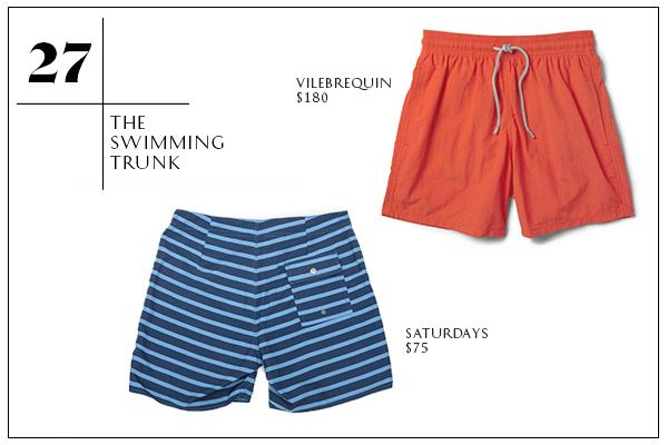27. The Swimming Trunk — Okay, it's not quite beach time yet, but we're using our April weekends to take advantage of the swe-et Kayak deals to, say, South Beach. Plus, you'll be wearing these so much sooner than you think. Memorial Day ain't that far — at least that's what we're telling ourselves. Our bathing suit picks are not too short, not too long, meaning you'll avoid both looking like a frat boy or Euro trash. Saturdays Schulze Stripe Trunk, $75, available at Saturdays; Vilebrequin…
