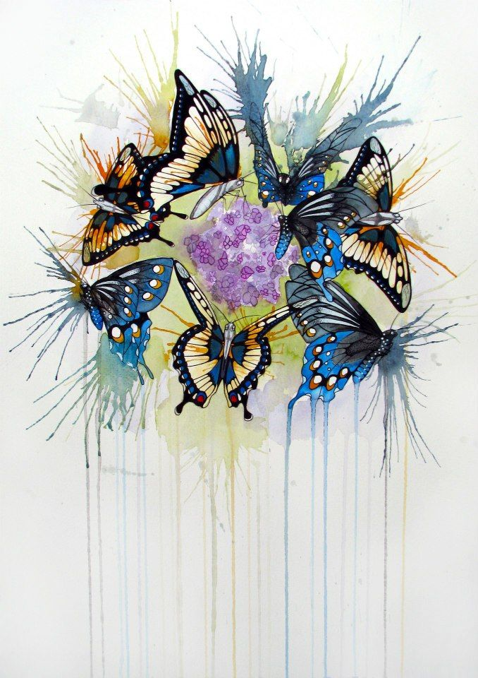 Butterflies in watercolour & fineliner