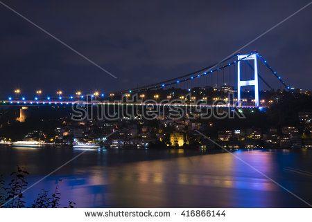 Fatih Sultan Mehmet Bridge at Istanbul Bosphorus in Night Time as Long Exposure
