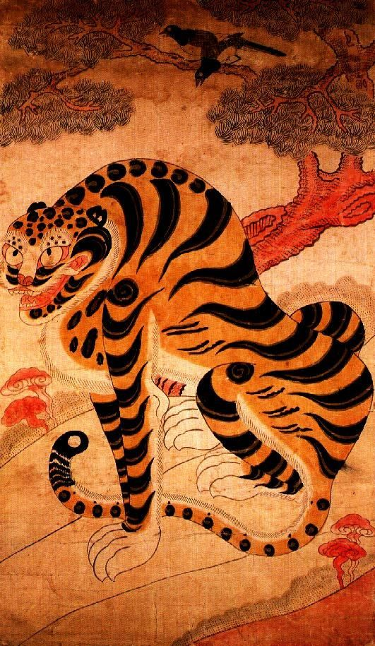 #Minhwa #Jakhodo is a genre of Korean folk painting, composed of a magpie sitting in a pine tree quawking above a tiger. Korean believe tigers were messengers from mountain gods and bringing good luck, so in jakhodo they are not represented to be fierce or threatening. The magpie is a harbinger and symbol of good news in traditional Korean folklore, they are also messengers of shrine deities capable of bestowing good luck or misfortune.