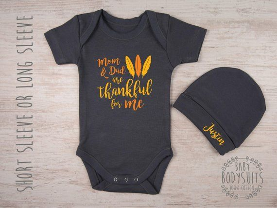 Baby Boy Thanksgiving Outfit MOM and DAD are THANKFUL for me  2b8a292cc