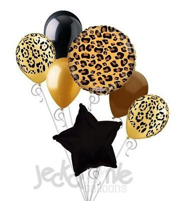 7 pc Tan Cheetah Print Balloon Bouquet Happy Birthday Baby Shower Animal Leopard