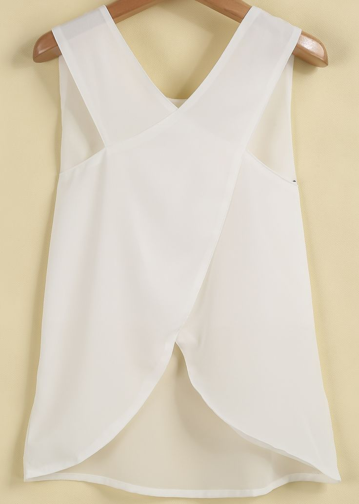 Shop White Sleeveless Cross Back Chiffon Blouse online. SheIn offers White Sleeveless Cross Back Chiffon Blouse & more to fit your fashionable needs.