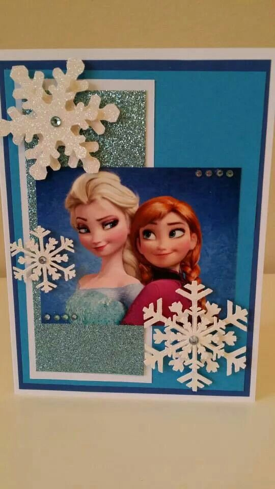 Handmade Frozen card for $6 inc an A7 envelope. Name and age can be added. Size : 170mm x 120mm. Www.shop.somethingelsepapercrafts.com