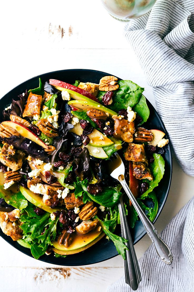 Chicken and Apple Salad with a Honey Dijon Vinaigrette is the perfect fall salad full of crisp apples, cranberries, crunchy pecans and bleu cheese. This salad is easy to put together and so mouthwatering! Hey everyone! Chelsea back from Chelsea's Messy Apron! I've got a delicious Fall salad for you all chuck full of delicious …