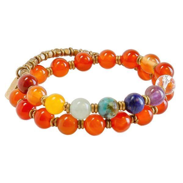 Second Chakra, Genuine Carnelian and Chakra Gemstones 27 Bead Wrap Mala Bracelet. #chakras #carnelian #yoga #unisex