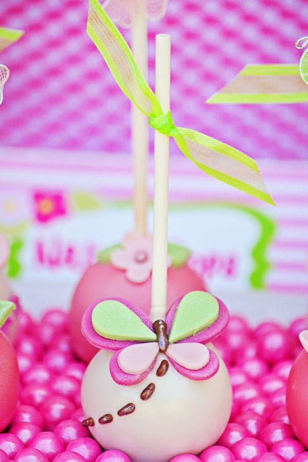 Butterfly Cake Pops : Pink + Green Butterfly Party