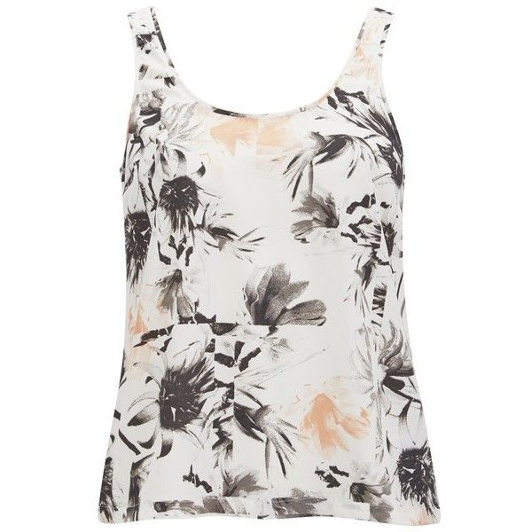 Vero Moda Women's Kylie Floral Vest Top - Tropical Peach (12 CAD) ❤ liked on Polyvore featuring tops, multi, floral cami, white floral tank top, white cami tank top, white tank and white camisole
