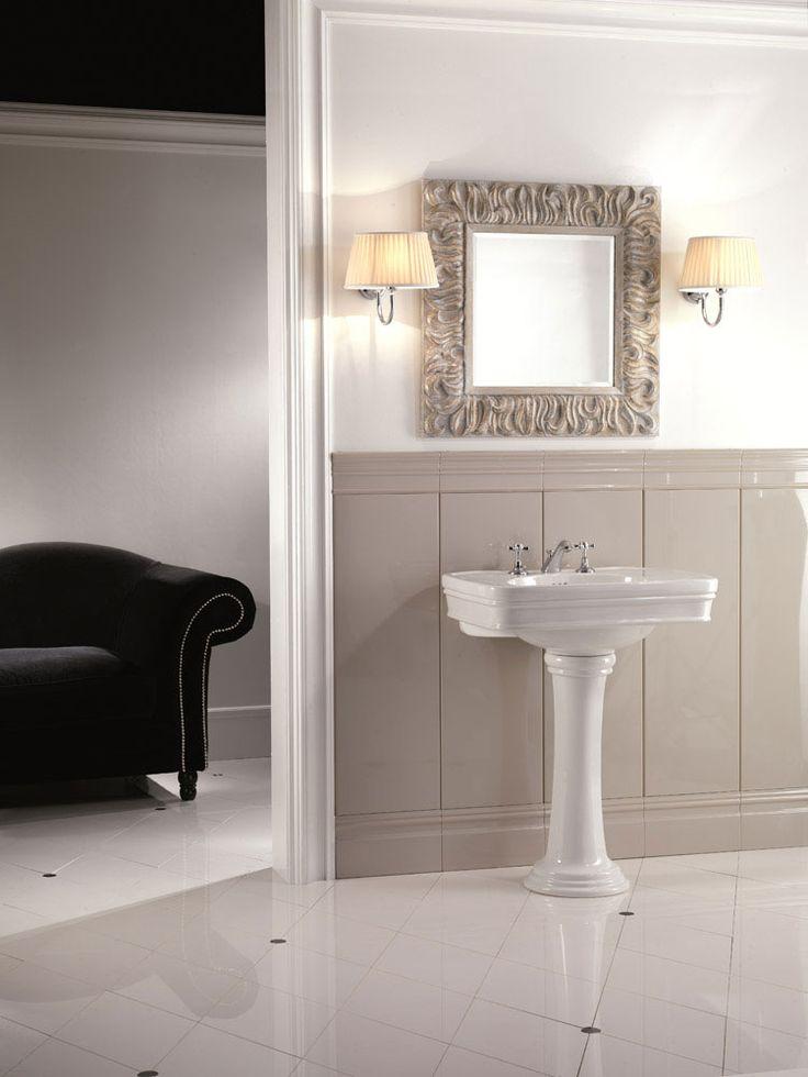 Devon&Devon Lavabo Rose Collezione completa di lavabo con colonna, bidet e wc monoblocco o sospesi. Il lavabo, grazie all'ampia superficie del piano d'appoggio, associa alla funzionalità di una consolle, la praticità d'uso della porcellana.