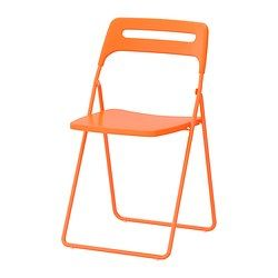 NISSE Folding chair - IKEA, $14.99 each. Can be affixed to the wall with the Blecka hook, which is $4.99 for a 4-pack