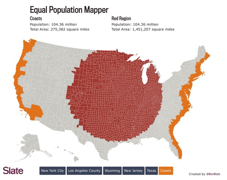 How Many Flyover States Does It Take To Equal One New York City - Break the us into states of equal populations map