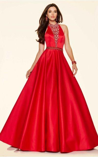 Ball Gown Halter Natural Sleeveless Floor-length Prom Dresses