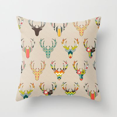retro deer head on linen background society6 pillow #society6 #sharonturner #deer #cushion #pillow #retro #simple #cool #hipster #geometric #pattern #autumn #fall #cute