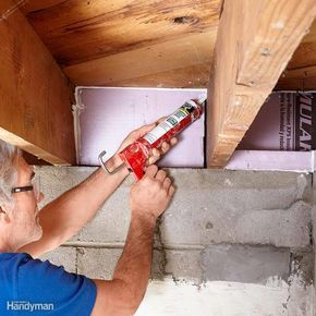 Uninsulated rim joists are huge energy losers. Now's the time to insulate and seal your rim joists. One option is to seal the rim joists with rigid insulation cut to fit. We recommend a minimum of 2-in.-thick extruded polystyrene, but check your local codes to see what's required. If you have a table saw, use it to cut strips equal to the depth of your joists. Then use a fine-tooth handsaw, utility knife or miter saw to cut the strips to length. Fill small gaps with caulk, and larger ones…