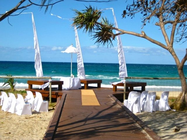 Gold Coast wedding ceremony at deck on Currumbin Beach, set up by Circle of Love Weddings.   Do you need help organising your ceremony?   Contact Gold Coast Celebrations ~ Tennille Jones