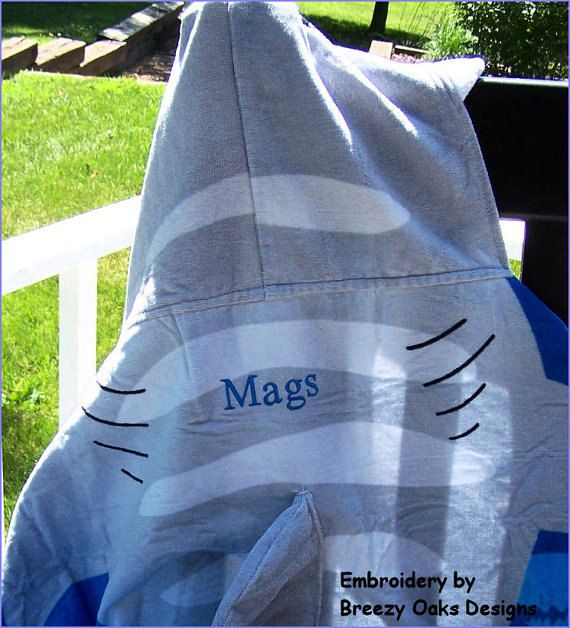 Personalized Hooded Shark Towel, Pool Towel, Baby Gift, Monogram Towel, Beach Towel, Childrens Towel,  Hooded Towel, Character Towel, Gift by breezyoaksdesigns. Explore more products on http://breezyoaksdesigns.etsy.com