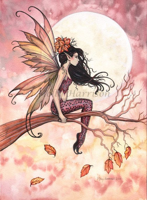 Fairy Print -  Full Moon in Autumn Fairy Art Print 9 x 12 Archival Giclee Print by Molly Harrison
