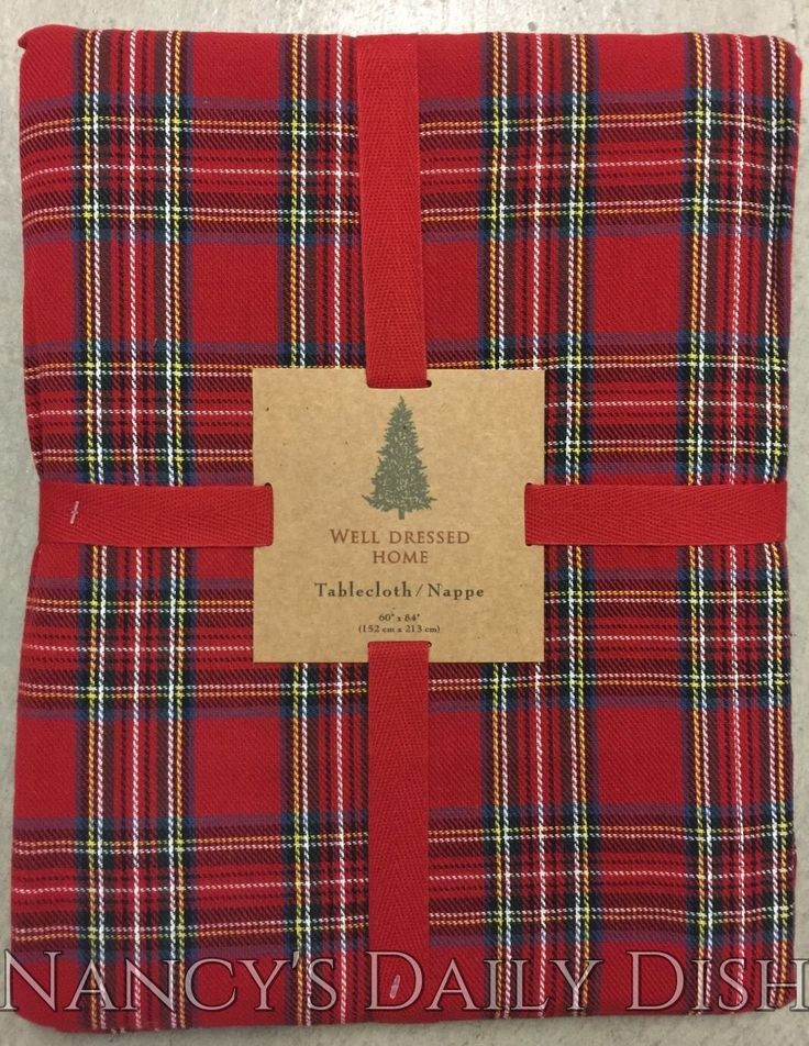 """Brand New 60"""" Round Tablecloth Well Dressed Home Traditional Scottish Tartan Plaid with Red, Black, Blue, Yellow, Green & White Seats 4 or perfect over a small side table 100% Cotton Machine Washable"""