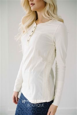 Cream Henley Top Modest Dresses and Clothes, best modest boutique, modest clothes, modest dresses, cute modest dresses, affordable modest clothes, modest bridesmaids dresses, dresses with sleeves, long skirts, long dresses, sister missionary clothing