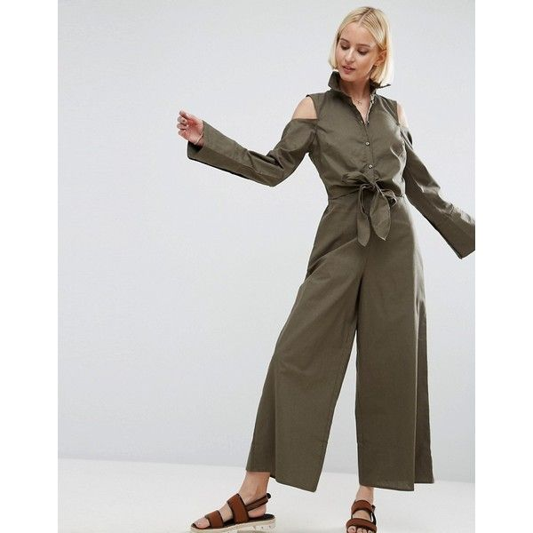 ASOS Shirt Jumpsuit with Tie Front Detail and Cold Shoulder (2,600 INR) ❤ liked on Polyvore featuring jumpsuits, green, asos, prom jumpsuit, jump suit, party jumpsuits and green jumpsuit