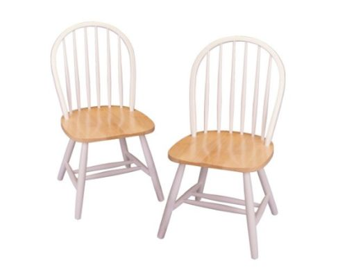 Windsor Chair in Natural and White Finish by Winsome, 2-Set