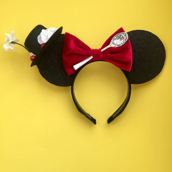 These ears, in a word are, Supercalifragilisticexpialidocious! These Mary Poppin inspired ears are made with a very glittery black and white