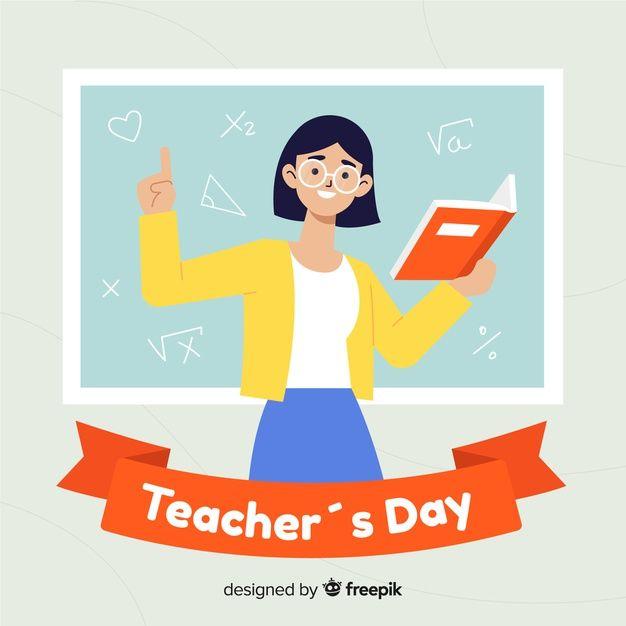 Flat Design World Teachers Day Concept Gambar Kartun Kartun Gambar