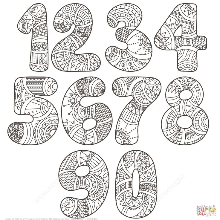 Zentangle Numbers Set 0 9   Super Coloring