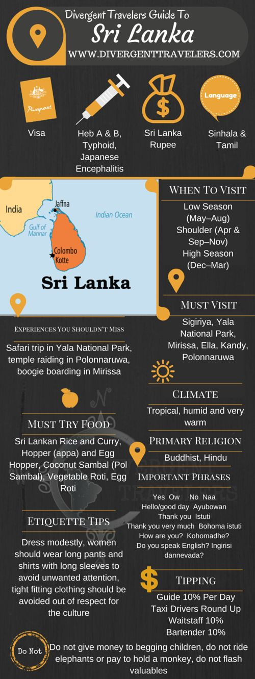 Divergent Travelers Travel Guide, With Tips And Hints To Sri Lanka. This is your ultimate travel cheat sheet to the Sri Lanka. Click to see our full Sri Lanka Travel Guide from the Divergent Travelers Adventure Travel Blog and also read about all of the different adventures you can have in The Sri Lanka at http://www.divergenttravelers.com/destinations/sri-lanka/