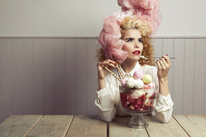 Paloma Faith shot at Gelato Gusto Artisan Ice Cream in Gardner Street, Brighton, for a Q in Observer Food Monthly. Alex Lake: