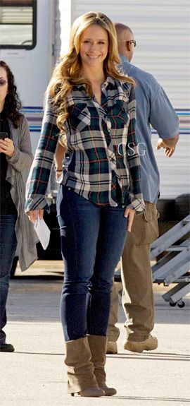 From The Set: #JenniferLoveHewitt wore the One by rails Kendra Button Down Shirt on the set of The Client List February 1, 2013    #CelebrityStyleGuide
